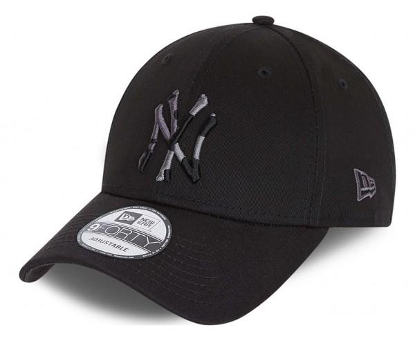 New Era - MLB New York Yankees Camo Infill 9Forty Strapback Cap - Schwarz Ansicht vorne schräg links