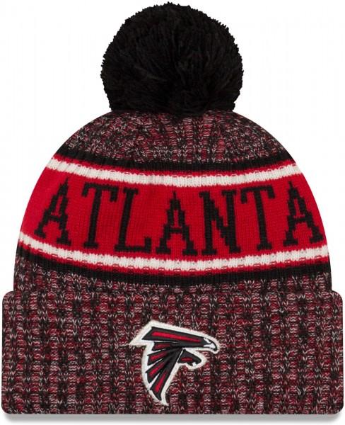 New Era - NFL Atlanta Falcons 2018 Sport Knit Bobble Beanie - Schwarz-Rot ansicht vorderseite