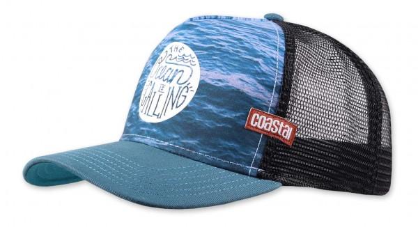 Coastal - Ocean Calling Trucker Snapback Cap - Mehrfarbig Ansicht vorne schräg links