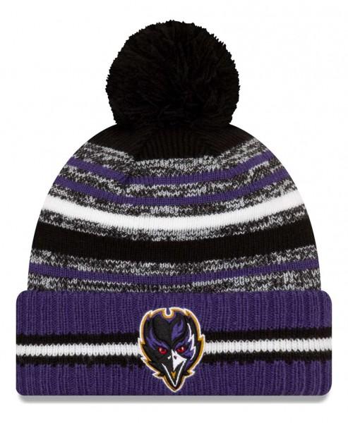 New Era - NFL Baltimore Ravens 2021 Sport Knit Bobble Beanie - Mehrfarbig Vorderansicht