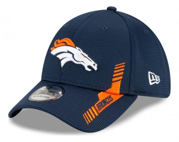 New Era - NFL Denver Broncos 2021 Sideline Home 39Thirty Stretch Cap - Blau Ansicht vorne schräg links