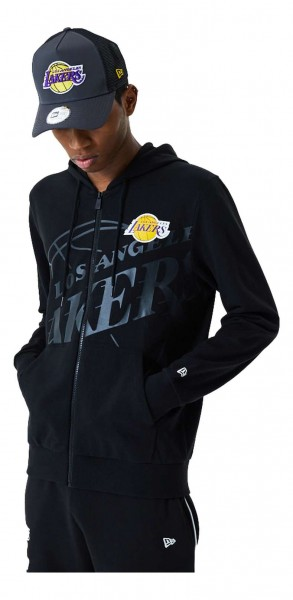 New Era - NBA Los Angeles Lakers Big Logo Zip Hoodie - Schwarz Vorderansicht