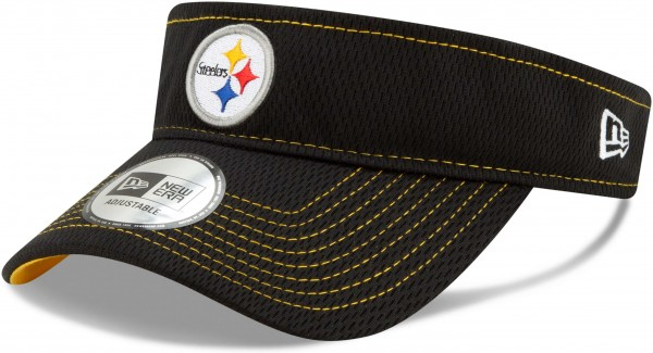 New Era - NFL Pittsburgh Steelers On Field 2019 Sideline Road Visor - Schwarz Ansicht schräg links