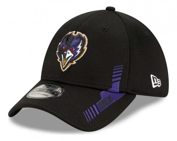 New Era - NFL Baltimore Ravens 2021 Sideline Home 39Thirty Stretch Cap - Schwarz Ansicht vorne schräg links