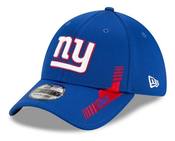 New Era - NFL New York Giants 2021 Sideline Home 39Thirty Stretch Cap - Blau Ansicht vorne schräg links