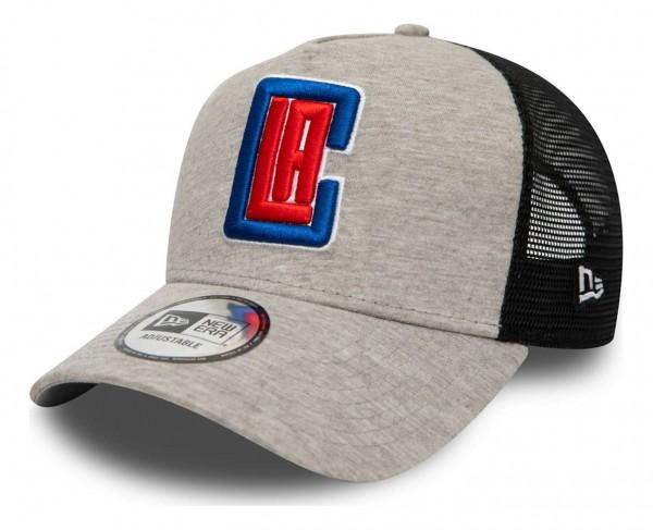 New Era - NBA Los Angeles Clippers Jersey Essential Trucker Snapback Cap - Grau Ansicht vorne schräg links