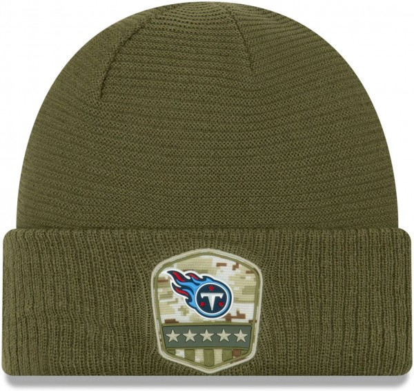 New Era - NFL Tennessee Titans On Field 2019 Salute to Service Knit Cuff Beanie - Olivgrün Vorderansicht