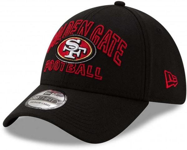 New Era - NFL San Francisco 49ers 2020 Draft Alternative 39Thirty Stretch Cap - Schwarz Ansicht vorne schräg links