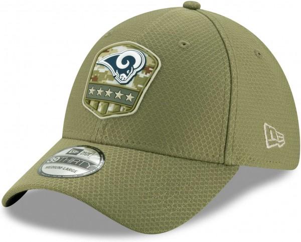 New Era - NFL Los Angeles Rams On Field 2019 Salute to Service 39Thirty Stretch Cap - Olivgrün Ansicht schräg vorne links