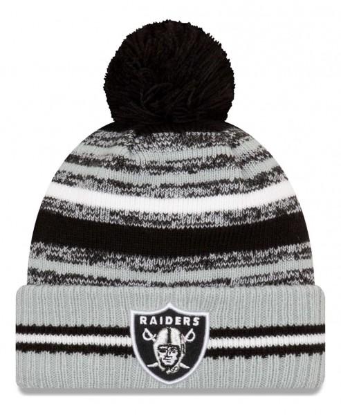 New Era - NFL Las Vegas Raiders 2021 Sport Knit Bobble Beanie - Mehrfarbig Vorderansicht