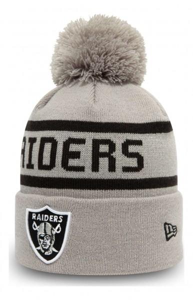 New Era - NFL Las Vegas Raiders Jake Cuff Knit Bobble Beanie - Grau Ansicht vorne schräg links