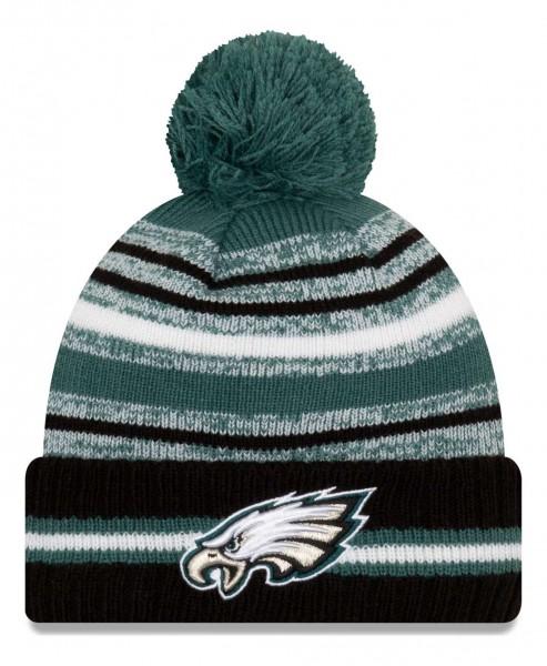 New Era - NFL Philadelphia Eagles 2021 Sport Knit Bobble Beanie - Mehrfarbig Vorderansicht