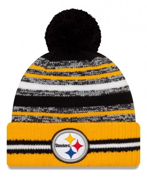 New Era - NFL Pittsburgh Steelers 2021 Sport Knit Bobble Beanie - Mehrfarbig Vorderansicht