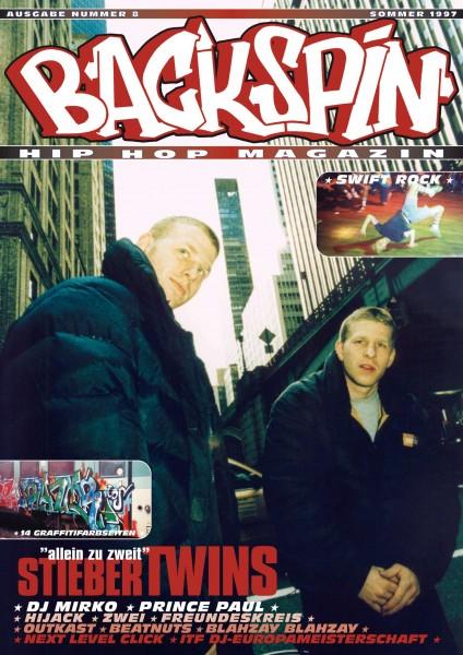 Auf dem Bild ist das Cover zu sehen der BACKSPIN Printausgabe Nummer 8