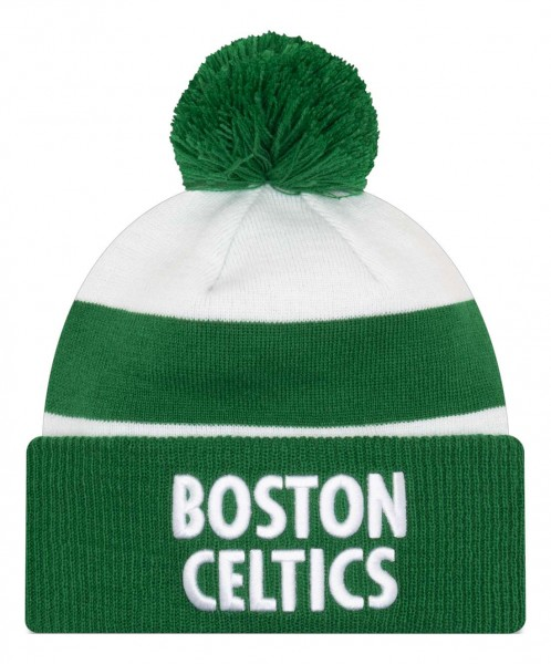 New Era - NBA Boston Celtics 2020 City Series Official Knit Bobble Beanie - Weiß Vorderansicht