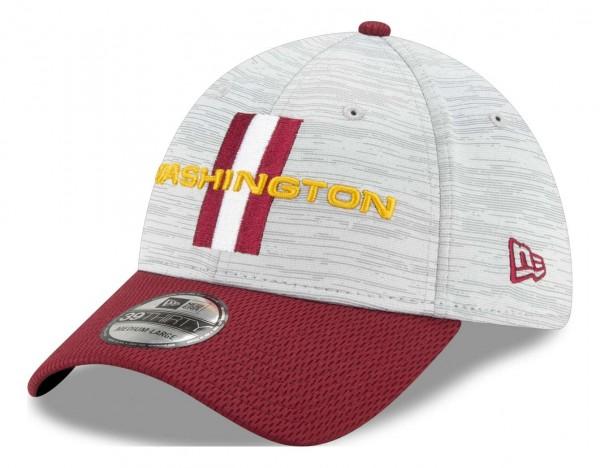 New Era - NFL Washington Football Team 20212 Training 39Thirty Stretch Cap - Grau-Rot Ansicht vorne schräg links