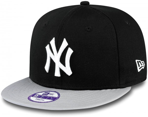 New Era - MLB New York Yankees Cotton Block 9Fifty Kids Snapback Cap - Schwarz Frontansicht