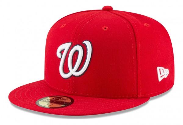 New Era - MLB Washington Nationals Authentic Collection Fitted Cap - Rot Ansicht vorne schräg links