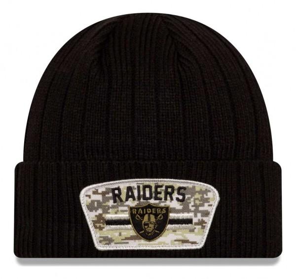 New Era - NFL Las Vegas Raiders 2021 Salute To Service Knit Beanie - Schwarz Vorderansicht