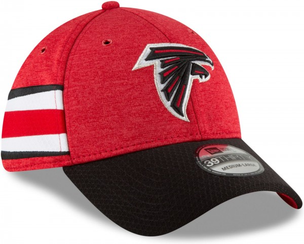 New Era - NFL Atlanta Falcons 2018 Sideline Home 39Thirty Stretch Cap - Rot schräg vorne rechts