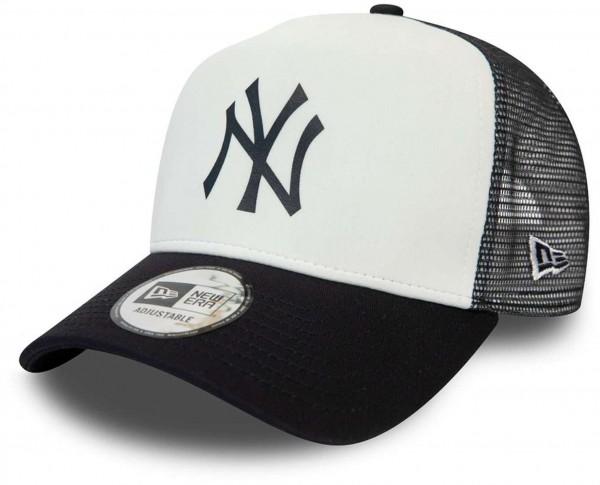 New Era - MLB New York Yankees Colour Block Trucker Snapback Cap - Schwarz-Weiß Ansicht vorne schräg links