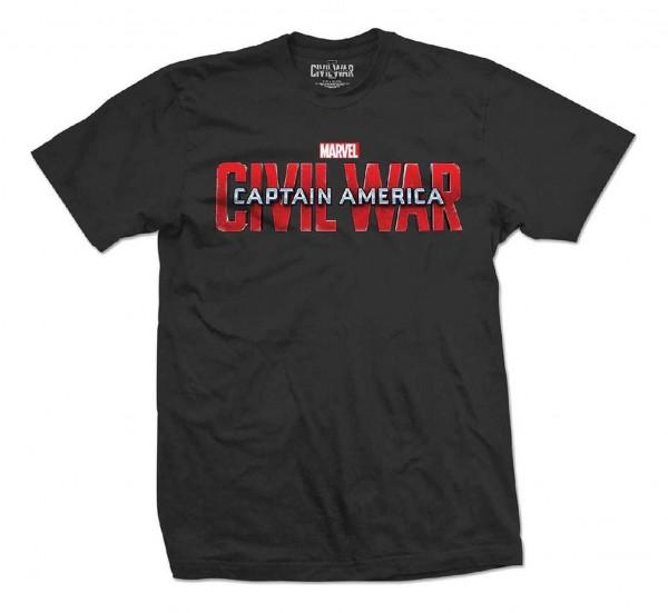 Bravado - Marvel Comics Captain America Movie Logo T-Shirt - Schwarz Vorderansicht